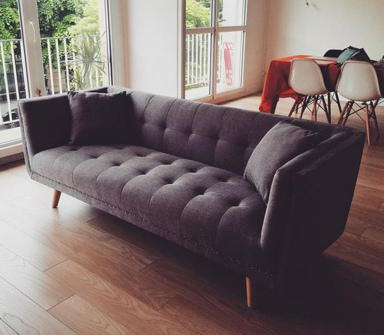 Canapé 3 places en tissu KARL - Gris