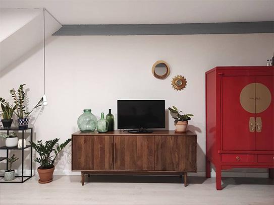 Armario NANTONG - 2 puertas & 2 cajones - Largo 105 cm - Madera de pino - Rojo