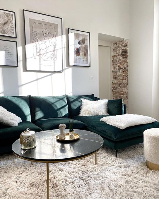 Canapé d'angle KESTREL en velours - Vert - Angle droit