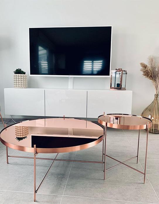 Table basse MARCIA - Miroir & Métal - Cuivré