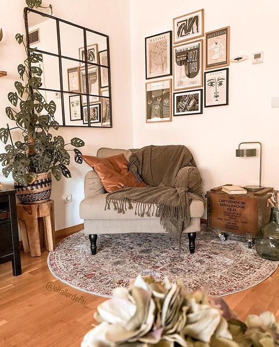 Lámpara de mesa estilo vintage OTILIE - Metal - 23 x 16 x 40 cm - Verde aceituna y oro