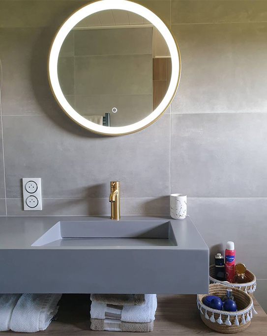 Miroir de salle de bain lumineux rond à leds DANIELA - L60 x H60 cm