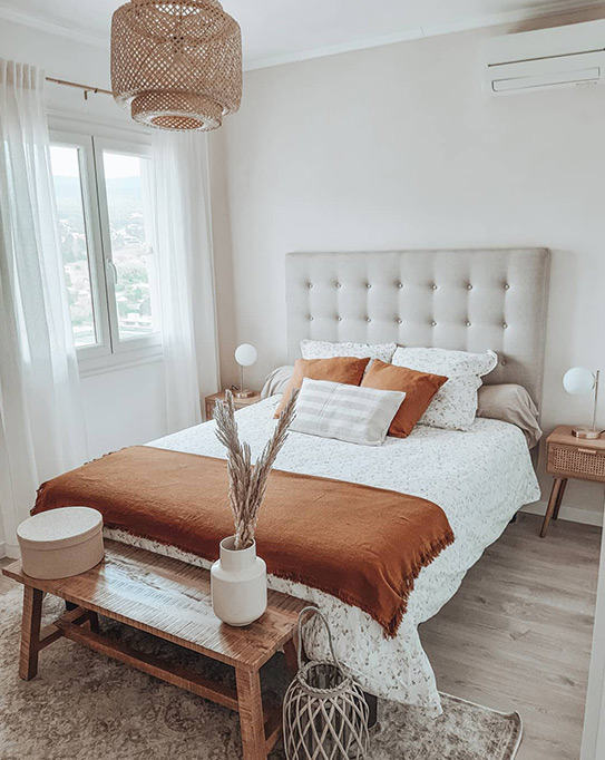 Lit FRANCESCO tête de lit capitonnée - 140x190cm - Tissu beige