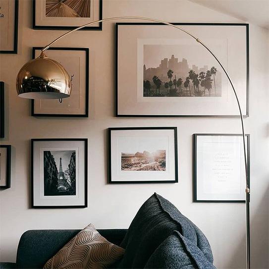Grand lampadaire arc style art déco OMBRAGE - Métal et marbre - H. 180 cm - Argenté