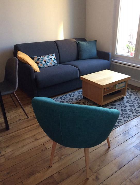 Canapé 3 places convertible express en tissu CALIFE - Turquoise - Couchage 140 cm - Matelas 14 cm