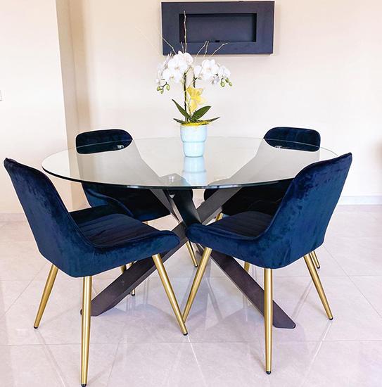 Table à manger CENTAURI - 4 couverts - Bois et verre trempé