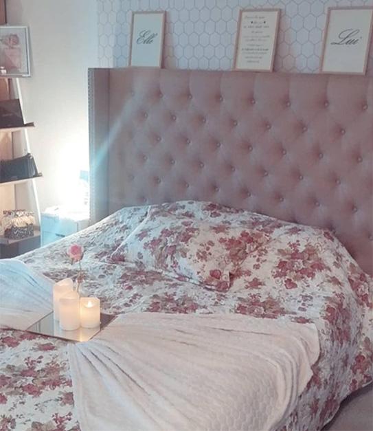 Tête de lit capitonnée MASSIMO - Tissu - 160 cm - Beige