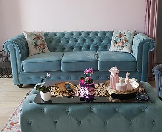 Canapé 3 places CHESTERFIELD - Velours bleu pastel