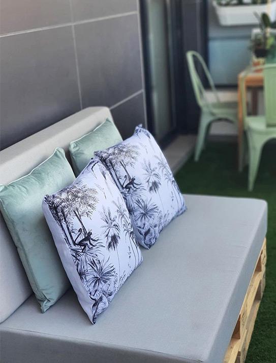 Lot de 2 coussins style ethnique JANGAL - Coton - 45 x 45 cm - Noir et blanc