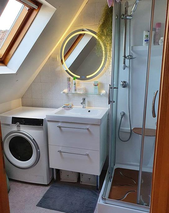 Miroir de salle de bain lumineux rond à leds NEREA - L60 x H60 cm