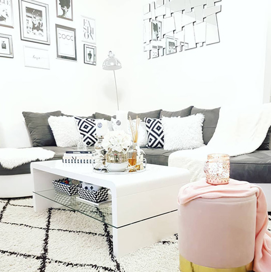 Canapé d'angle bimatière STEPHANIE - Bicolore blanc et gris - Angle gauche