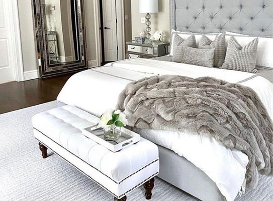 Lit MASSIMO tête de lit capitonnée - 180x200cm - Tissu gris