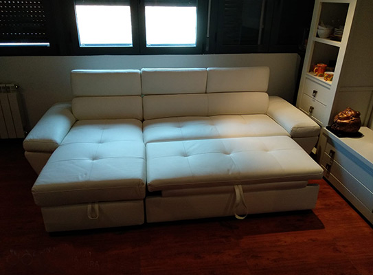 Sofá cama de canto em pele de luxo Marfim - Canto esquerdo - EXPERIENCIA