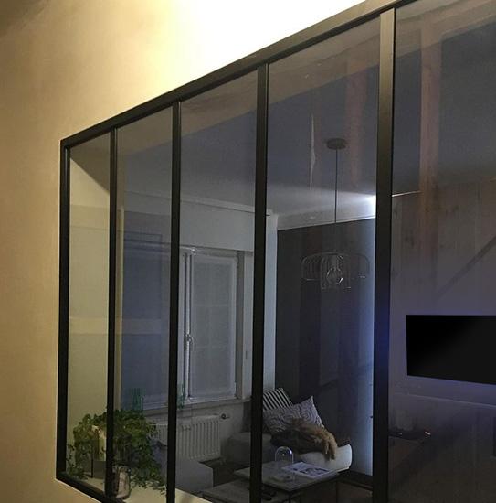 Verrière atelier BAYVIEW en aluminium thermolaqué noir - 150x130cm