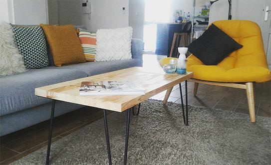 Fotel z tkaniny KRIBI - Żółty