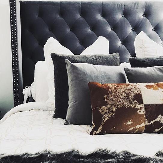 Tête de lit capitonnée MASSIMO - Tissu - 160 cm - Gris