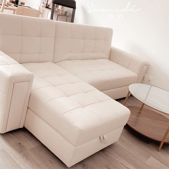 Canapé d'angle simili coffre + pouf coffre ORIGAMI III - Blanc